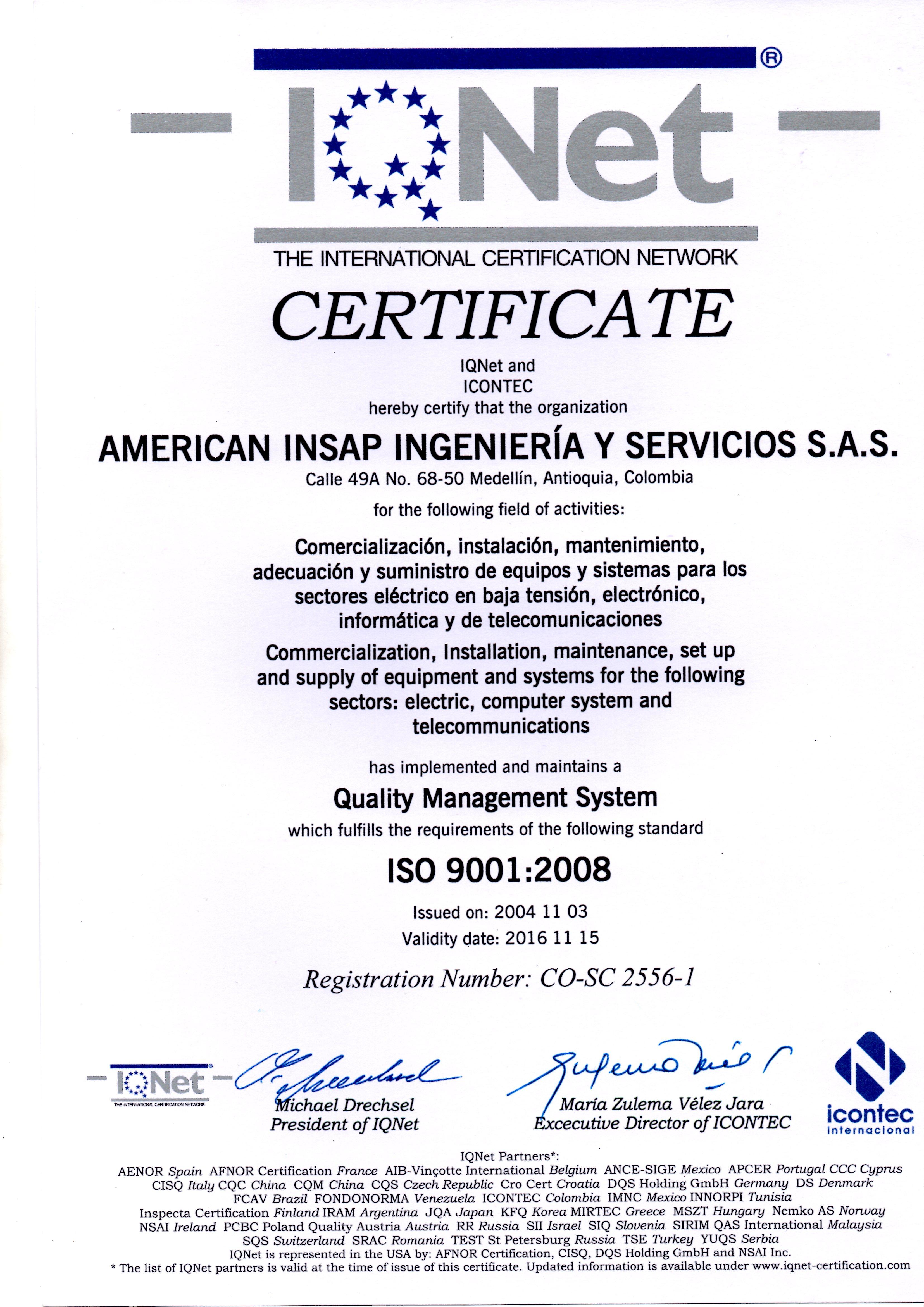 Certificado IQNET - American Insap